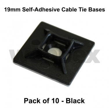 PACK OF 10 SELF-ADHESIVE CABLE TIE BASES - BLACK