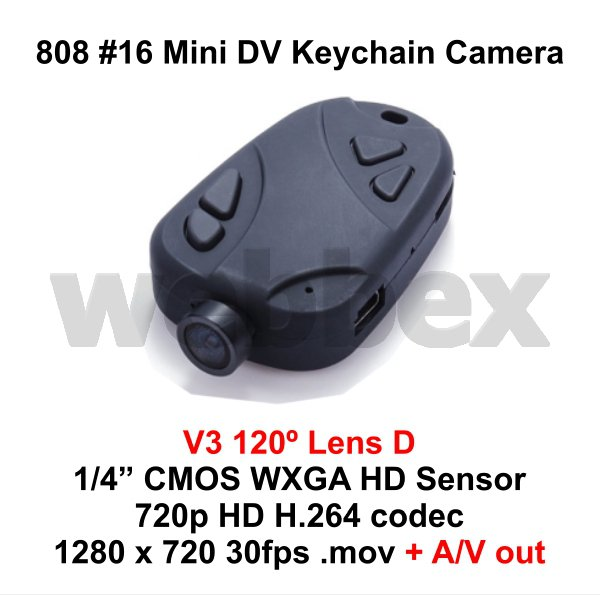 MINI DVR 808 #16 V3 LENS D KEY CHAIN MICRO HD CAMERA 720P H.264 WITH A/V OUT