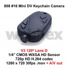 MINI DVR 808 #16 V3 LENS D KEY CHAIN MICRO HD CAMERA 720P H.264 WITH A/V OUT