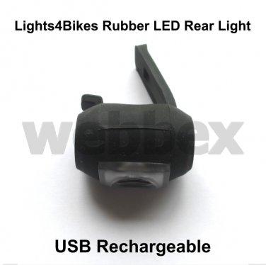 LIGHTS4BIKES RUBBER USB RECHARGEABLE REAR BIKE LIGHT
