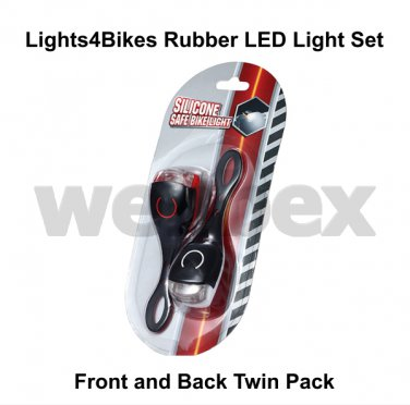 LIGHTS4BIKES FRONT AND REAR RUBBER LED BIKE LIGHT SET