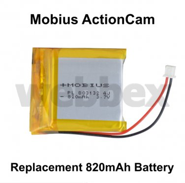 REPLACEMENT 820mAh BATTERY FOR THE MOBIUS ACTIONCAM