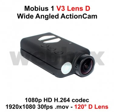 MOBIUS ACTION CAMERA V3 LENS D WIDE-ANGLED MICRO HD FULL 1080P H.264 WITH A/V OUT