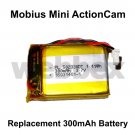 REPLACEMENT 300mAh BATTERY FOR THE MOBIUS MINI ACTION CAMERA