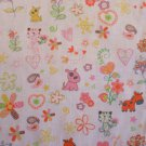 CATS AND DOGS AND DONKEY  PRINT POLY COTTON  PINK AND ORANGE