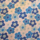BLUE DAISY PRINT POLY COTTON LARGE PRINT