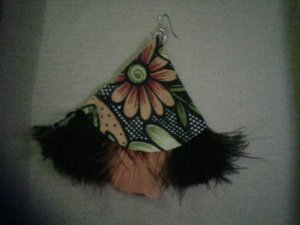 African orange and black cloth and feather earring