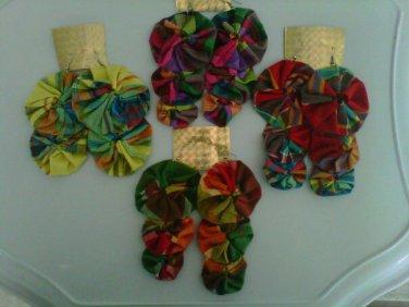 Creole Madras chandelier earrings