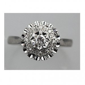 Estate 14 Kt White Gold Transitional Cut Diamond Ring Circa 1960's