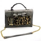 Chocolate Faux Leopard Print Bag- Grey