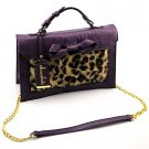 Chocolate Faux Leopard Print Bag- Purple