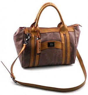 Chocolate Top Zipper Satchel- Mauve