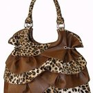 Ruffle Leopard Print Bag - Purple