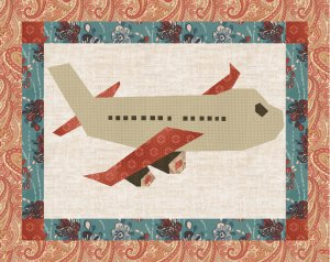 PDF Pattern Download Jet Airplane plane Foundation Paper Piecing Pieced Quilt Block Pattern