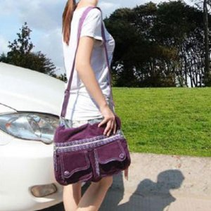 Ladies Purple bag ladies Computer Bag Shoulder Satchel Bag Multi Pocket corduroy