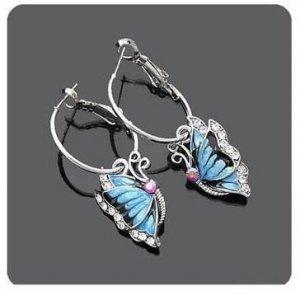 Cute Blue Storm Butterfly Dangle Charm Fashion Earrings