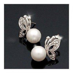 Elegant Cute Butterfly Pearl Earrings Ear Nail Pin Girl Gift Cosmetic Accessory