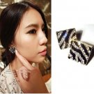 Square Crystal Rhinestone Zebra Leopard Earring Ear Stud Pins Jewelry Women Gift