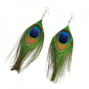 Vintage Luxury Feather Dangle Peacock Earrings Large