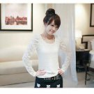 stereo hollow sleeves carved long-sleeved lace base T-shirt cotton white