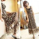 Elegant Lady Woman's Leopard Girdling Chiffon Spaghetti Strap Longuette Dress