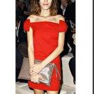 Elegant Lady Woman's Sexy Red Bowknot Off Collar Mini Dress