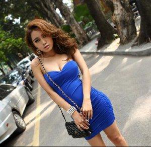 Fashion Design Sexy party dress-blue