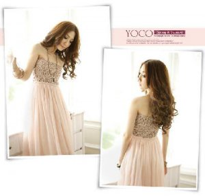 NEW Loose Fashions Evening Bridesmaid Lady Women's Sexy Lace Strapless Longuette Dress