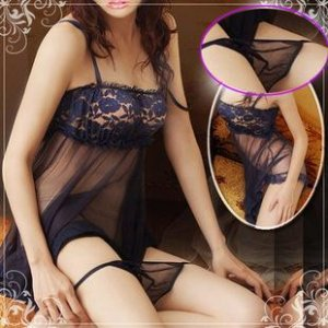 WOMEN DARK BLUE LINGERIE LACE SUITS WITH T-BACK