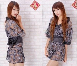 WOMEN LINGERIE BLACK kimono WITH WHITE FLOWERS AND T-BACK