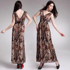 Women's Summer Wear Double V-Open Nipped-Waist Leopard Longuette Dress