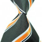 Black White Orange Stripe Silk Classic Woven Man Tie Necktie