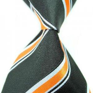 Black White Orange Stripe Silk Classic Woven Man Tie Necktie