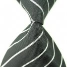 Black White Stripe Silk Classic Woven Man Tie Necktie