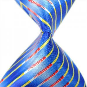 Blue Multicolour Stripe Silk Classic Woven Man Tie Necktie