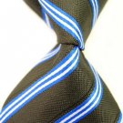 Brown Stripe Silk Classic Woven Man Tie Necktie