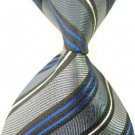 Gray Blue Stripe Silk Classic Woven Man Tie Necktie