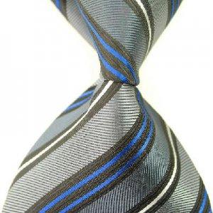 Gray Blue Stripe Silk Classic Woven Man Tie Necktie
