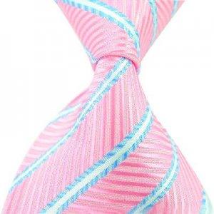 Pink Blue Stripe Silk Classic Woven Man Tie Necktie