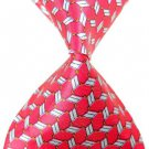 Pink White Lattice Stripe Silk Classic Woven Man Tie Necktie