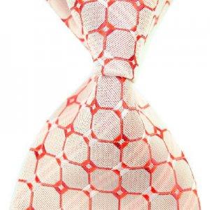 Red Lattice Silk Classic Woven Man Tie Necktie