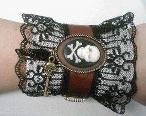 steampunk leather victorian cuff bracelet