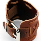 Brown leather cuff bracelet with adjustable buckle
