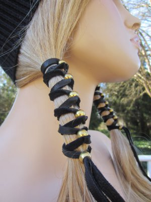 leather hair wrap bike black leather hair accessories