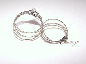 Handmade triple hoop guitar string earrings