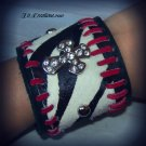 rocker leather zebra punk cuff with rhinestone cross