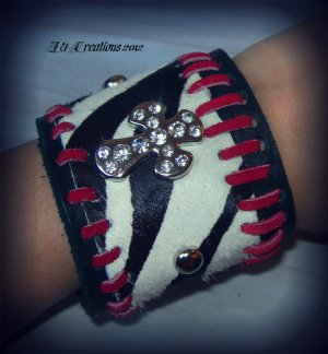 rocker leather zebra punk cuff with rhinestone cross