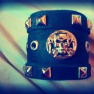 Black leather studded cuff bracelet biker punk skull with cross