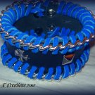 Blue and black leather bracelet