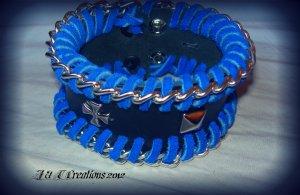 Blue and black leather bracelet